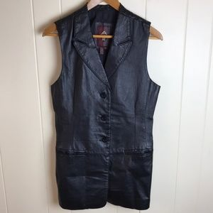 Vintage 80s/90s Long Black Leather Vest